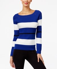 Inc International Concepts Striped Boat Neck Sweater Only At Macy's Goddess Blue