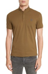 The Kooples Men's Contrast Officer Collar Polo Olive