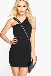 Boohoo Keira Exposed Zip Bodycon Dress Black