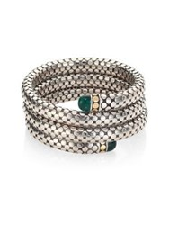 John Hardy Batu Dot Malachite 18K Yellow Gold And Sterling Silver Triple Coil Bracelet Silver Green