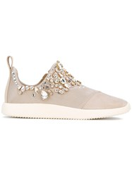 Giuseppe Zanotti Design Gemma Slip On Sneakers Women Leather Suede Polyester Glass 38.5 Nude Neutrals