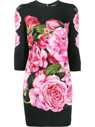 Dolce And Gabbana Rose Print Crepe Dress Black