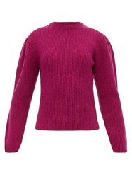 Christophe Lemaire Box Pleat Ribbed Wool Sweater Burgundy