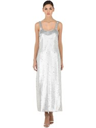 Vivetta Sequined Maxi Dress W Fringes Silver