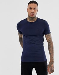 Religion Crew Neck Muscle Fit T Shirt In Navy