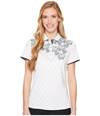 Callaway Lace Argyle Printed Polo Bright White Women's Sleeveless