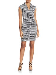 Laundry By Shelli Segal Printed Twist Front Jersey Knit Dress Black White