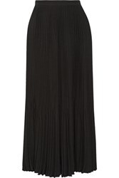 Theory Laire Pleated Crepe Midi Skirt Black
