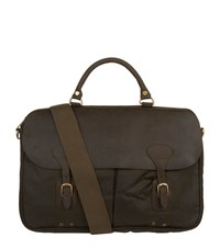 Barbour Wax Leather Briefcase Green