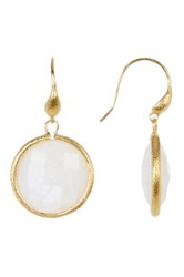 Rivka Friedman 18K Gold Clad Faceted Mother Of Pearl Round Dangle Earrings White