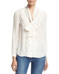 Frame Ruffle Tie Neck Blouse White