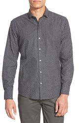 Zachary Prell 'Jason' Regular Fit Long Sleeve Floral Dobby Sport Shirt Charcoal Solid