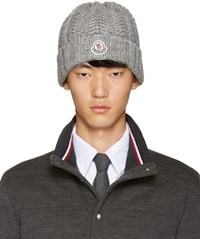 Moncler Grey Cable Knit Beanie