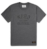 Neighborhood Printed Cotton Jersey T Shirt Charcoal