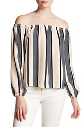 Lucca Couture Stripe Off The Shoulder Shirt Multi