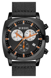 Versus By Versace 'Riverdale' Chronograph Canvas Strap Watch 40Mm Black Orange