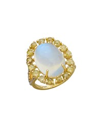 Bavna Rainbow Moonstone And Diamond Oval Ring Blue