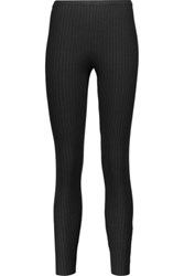 Magaschoni Ribbed Silk Blend Leggings Black
