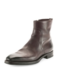 Tom Ford Carter Side Zip Leather Boot Dark Brown