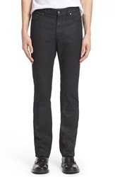 Men's Versace Collection Coated Straight Leg Jeans Black