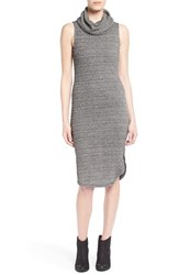 Junior Women's Lush Sleeveless Turtleneck Sweater Dress Charcoal Cream