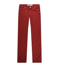 Jacob Cohen Slim Fit Solid Colour Jeans Male Red