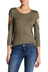14Th And Union Cold Shoulder Tee Petite Green