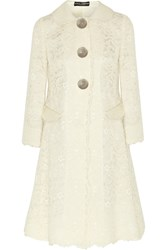 Dolce And Gabbana Patent Leather Trimmed Guipure Lace Coat White