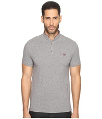 The Kooples Officer Collar Polo With Contrasting Trim Vintage Grey Cassis