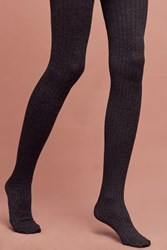 Anthropologie Everyday Ribbed Tights Dark Grey