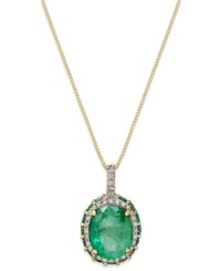Macy's Emerald 3 3 8 Ct. T.W. And White Sapphire 1 6 Ct. T.W. Pendant Necklace In 10K Gold Green