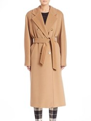 Max Mara Double Breasted Virgin Wool And Cashmere Overcoat Camel