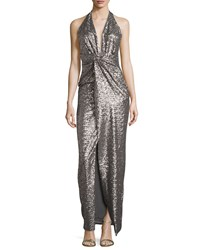 Halston Sequined Halter Gown With Front Slit Grey