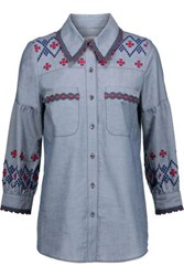 Anna Sui Crochet Trimmed Embroidered Cotton Chambray Shirt Mid Denim