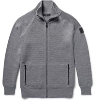 Belstaff Garston Panelled Wool Zip Up Sweater Gray