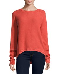 Sweet People Long Sleeve Crochet Inset Sweater Coral