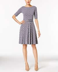 Charter Club Elbow Sleeve Fit And Flare Dress Only At Macy's Intrepid Blue Combo
