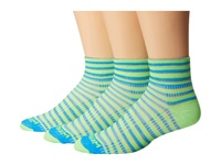 Wrightsock Coolmesh Ii Quarter Stripes 3 Pack Green Blue Grey Quarter Length Socks Shoes Multi