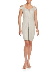 Jax Cold Shoulder Sheath Dress Silver