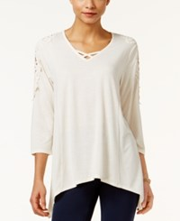 Styleandco. Style Co. Lattice Neck Crochet Trim Top Only At Macy's Warm Ivory