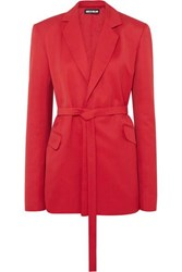 House Of Holland Belted Canvas Blazer Red
