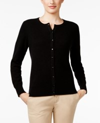 Charter Club Cashmere Crew Neck Cardigan Only At Macy's Classic Black