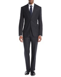 Armani Collezioni Donegal Melange Wool Silk Two Piece Suit Charcoal