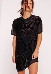 Missguided Black Petite Snake Flock Mesh T Shirt Dress
