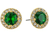 Lauren Ralph Lauren Treasure Trove Small Stone Stud Earrings Green Crystal Gold Earring