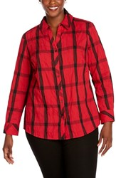 Foxcroft Plus Size Mary Windowpane Wrinkle Free Shirt Red Lacquer