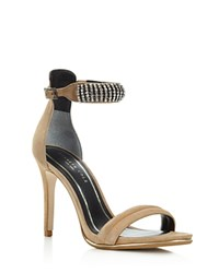 Kenneth Cole Bein Jeweled Ankle Strap High Heel Sandals Cashew