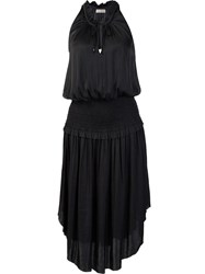 Ulla Johnson Drawstring Neck Ruffled Dress Black