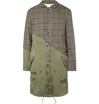 Greg Lauren Panelled Distressed Puppytooth Alpaca And Cotton Canvas Coat Brown