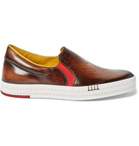 Berluti Playtime Burnished Leather Slip On Sneakers Brown